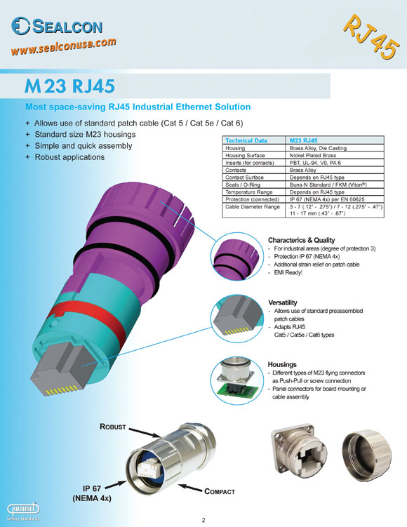 M23 Circular Connectors - RJ45 Industrial Ethernet, M23 Housing, Simple & quick Assembly, Patch Cable, Protection IP 67